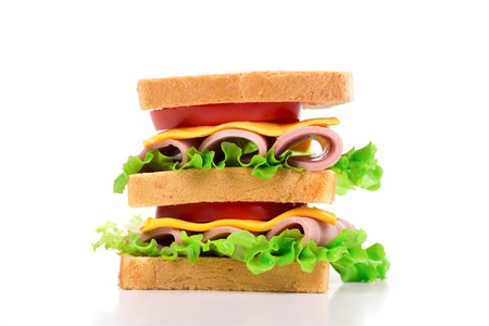 sandwitch: Delicious Sandwich closeup isolated on the white background