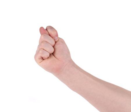 fraudster: Gesturing con la mano dito closeup isolato su sfondo bianco