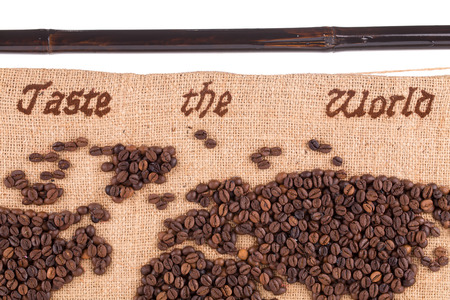 Map fragment of coffee beans. Close up. photo