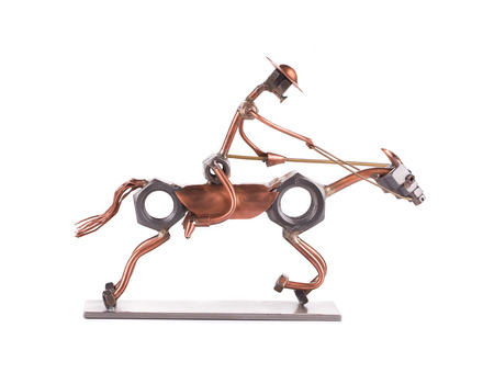 Don Quixote. Cyberpunk style. Bronze and steel parts. Retro. photo