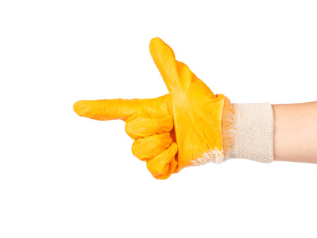 Hand in protective glove showing direction. Isolated on white. photo