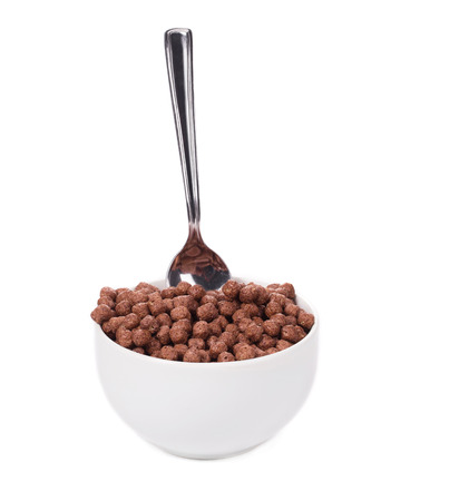 Oats chocolate cereal. Isolated on a white background. photo