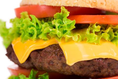 big hamburger isolated on a white background photo