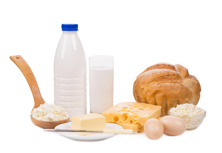 dairy products: Delicious dairy products. Isolated on a white background.