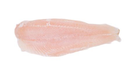 Fresh fillet of pangasius. Isolated on a white background.