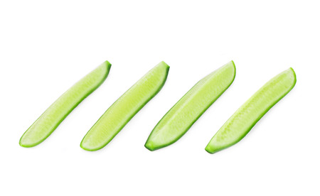 cuke: fresh cucumbers isolated on white background in closeup Stock Photo
