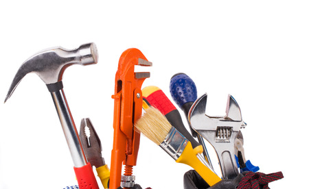 alligator wrench: Various worker tools. Isolated on a white background Stock Photo