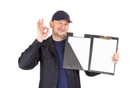 okey: Worker with sign okey. Isolated on a white background.