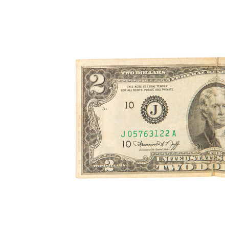 two dollar bill: United States two dollar bill. Isolated on a white background. Stock Photo