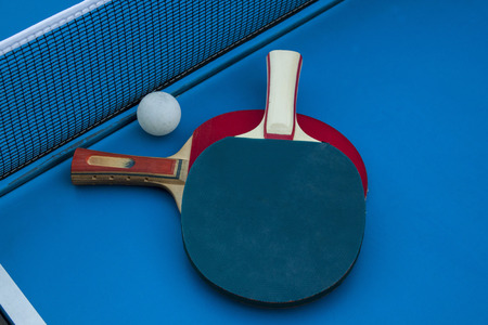 Composition on the tennis table. Close up.