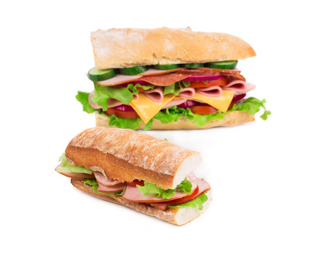 sandwitch: Big delicious sandwich close up on the white background Stock Photo