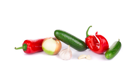 Composition of fresh vegetables. Isolated on a white background. photo