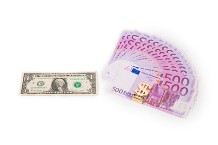 five dollar bill: Five hundred euro fan and dollar bill. Isolated on a white background.