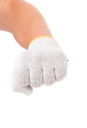 Strong male worker hand glove clenching fist photo