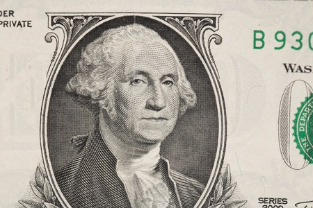 two us dollar: Close up of american dollar bill as a background Stock Photo
