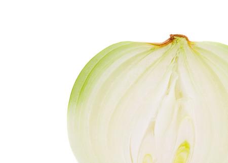 onion slice: White onion slice close up. Isolated on a white background.