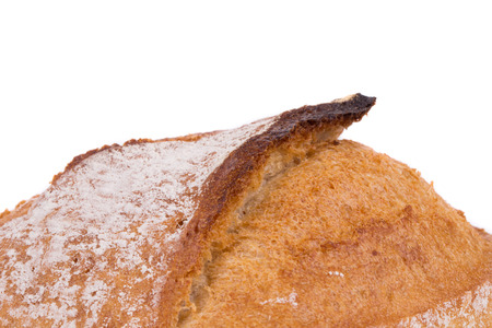 nurture: Appetizing bread isolated on white background closeup Stock Photo