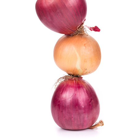 goldish: close up of Different onions. isolated on a white background