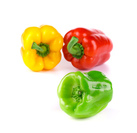 bell peper: Green red and yellow pepper. Isolated on a white background. Stock Photo