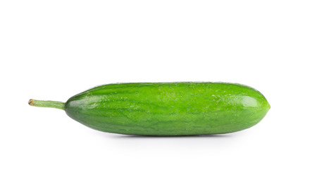 cuke: Close up of fresh cucumber. Isolated on a white background. Stock Photo