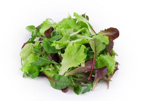 lechuga: Hoja verde y rojo de la lechuga de cerca. Aislado en un fondo blanco. Foto de archivo