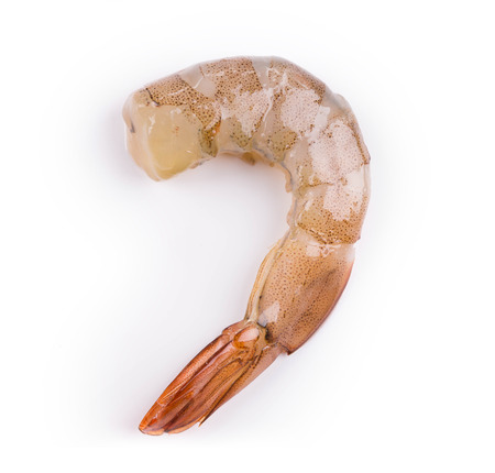 jhy: raw shrimp on a white background in the closeup Stock Photo