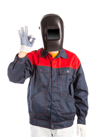 workwear: Welder in workwear suit. Isolated on a white background. Stock Photo