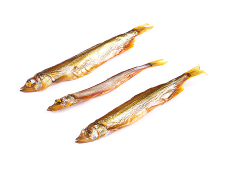 goldish: Goldish three anchovies. Isolated on the white background.