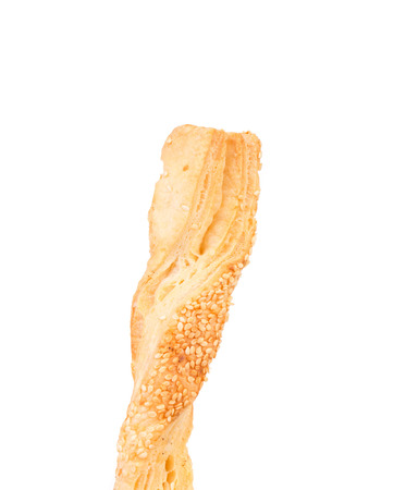 sesame cracker: Stick cracker with sesame seeds. Isolated on a white background.