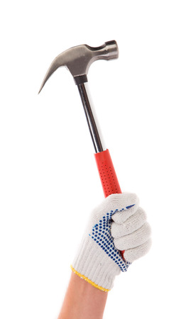 Hand holding hammer. Isolated on a white background. photo