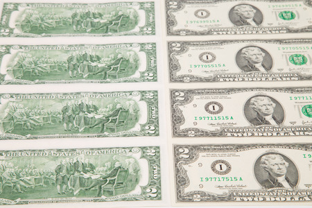 two dollar bill: Close up of two-dollar bills. Whole background. Stock Photo