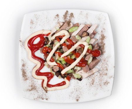 cow tongue: Meat salad with mushrooms. Isolated on a white background. Stock Photo