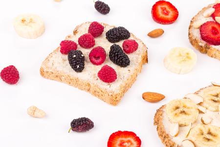 haute cuisine: Close up of delicious berry sandwiches. Haute cuisine.