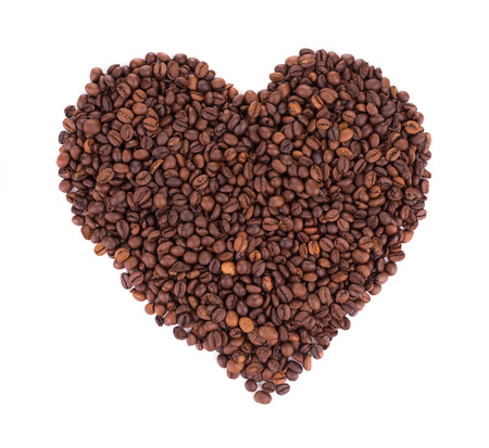 caf: coffee beans isolated on a white background in shape of heart Stock Photo