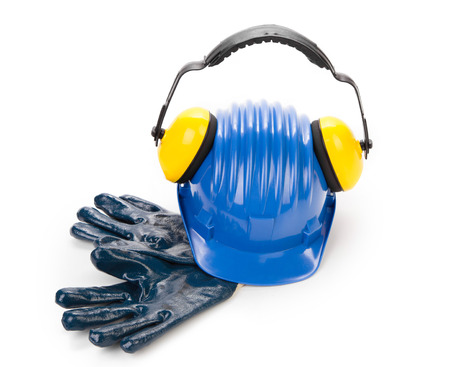 Blue safety helmet with earphones and goggles. Isolated on a white background. Banco de Imagens