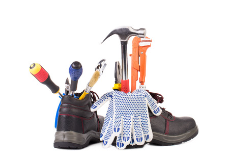 decibels: Boot with tools inside. Isolated on a white background.