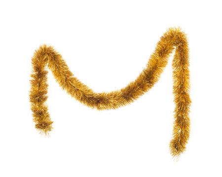 adornos navideños: Decoración de oropel. Aislado en un fondo blanco