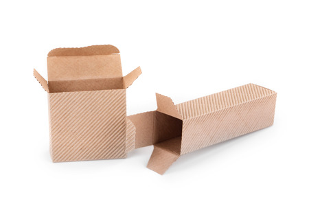 stockpiling: Opened cardboard boxes. Isolated on a white background. Stock Photo