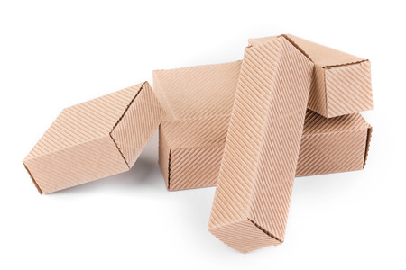 stockpiling: Closed cardboard boxes. Isolated on a white background.