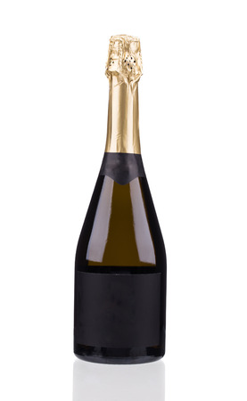 closed corks: Champagne bottle with golden top. Isolated on white background
