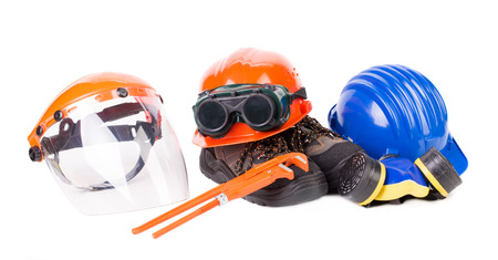 constructional: Various safety equipment. Isolated on a white backgropund. Stock Photo