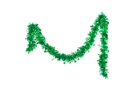 holiday garland: Christmas green tinsel. Isolated on a white background.
