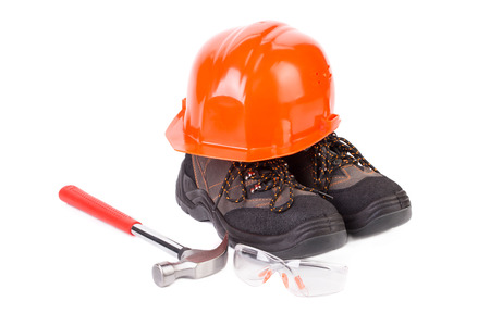 constructional: Various working equipment close up. Whole background. Stock Photo