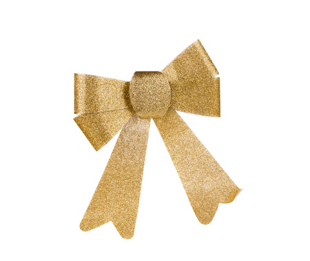 goldish: Gold bow isolated on white clipping path included Stock Photo