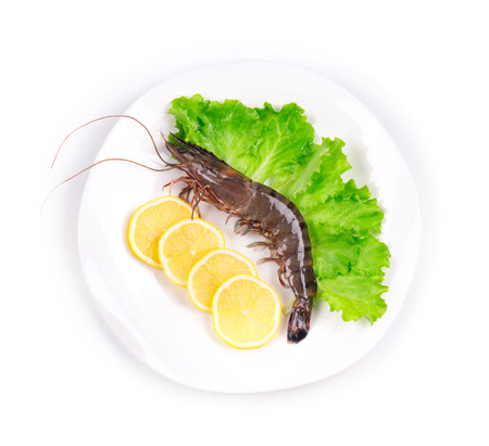 tiger shrimp: Raw tiger shrimp on plate. Isolated on a white background. Stock Photo
