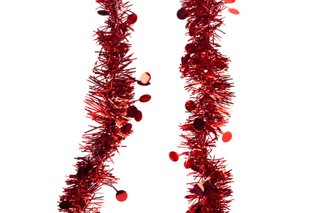 stock photo tinsel christmas decoration on a white background closeup isolated - Tinsel Christmas Decorations