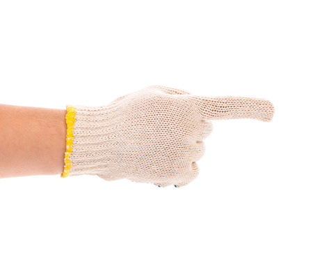 five fingers: Thin work gloves shows five fingers. Isolated on a white background.