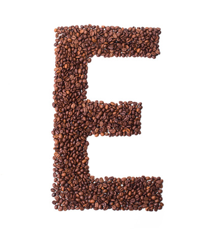 coffee beans isolated: Alphabet from coffee beans. isolated on white.