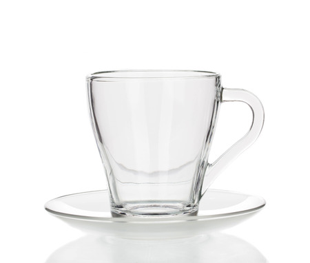 reflectance: Glass cup isolated on a white background closeup Stock Photo
