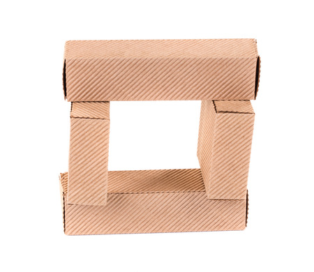 stockpiling: Stacks of cardboard boxes. Isolated on a white background.